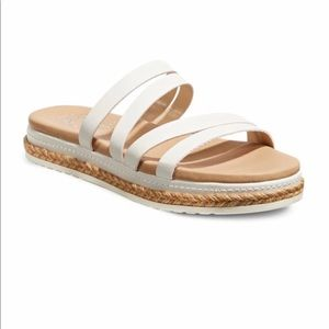 NEW leather strappy flat slides slip on sandals